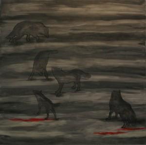 """חלום זאבים, אקריליק על בד 140X140 ס""""מ. 2011"""